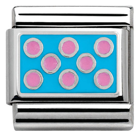 Nomination Charm Composable Hearts and Geometric Link Fuchsia Dots Light Blue Background Steel