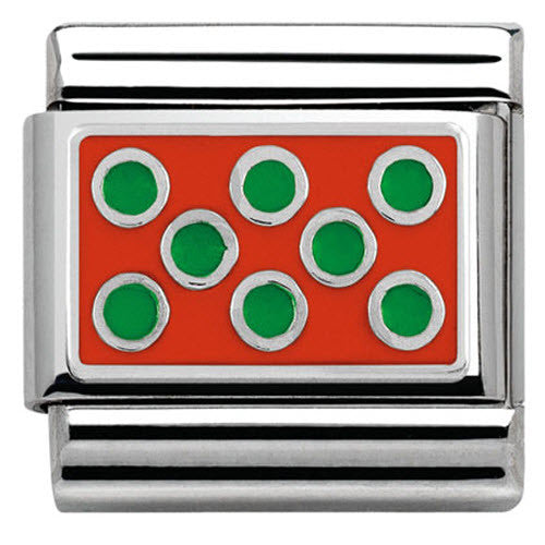 Nomination Charm Composable Hearts and Geometric Link Green Dots Red Background Steel