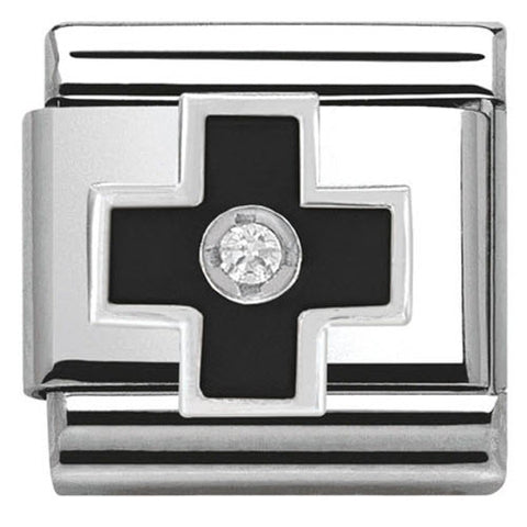 Nomination Charm Composable Classic Symbols Black Cross Steel