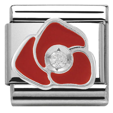 Nomination Charm Composable Classic Symbols Red Rose Steel