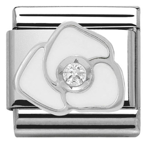 Nomination Charm Composable Classic Symbols White Rose Steel