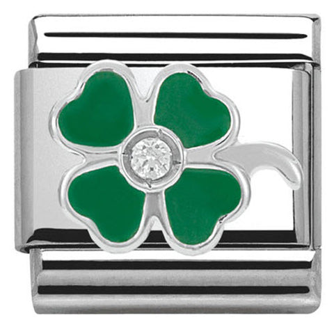 Nomination Charm Composable Classic Symbols Green Clover Steel
