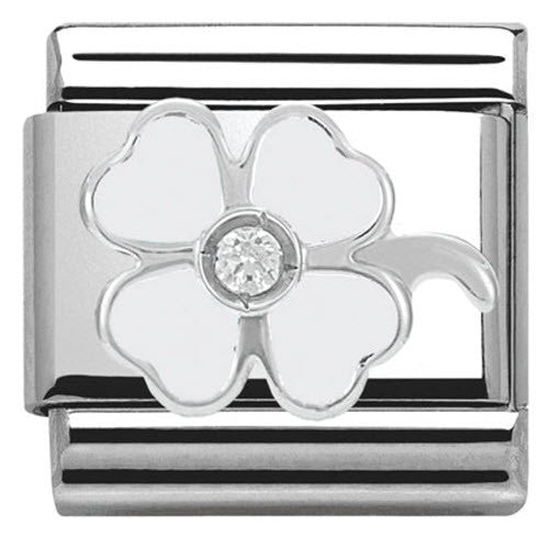 Nomination Charm Composable Classic Symbols White Clover Steel