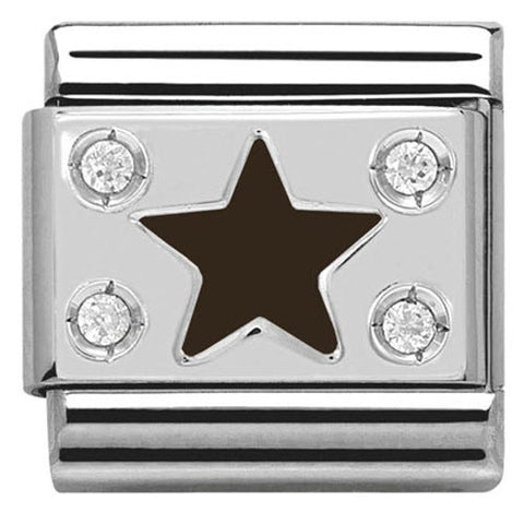 Nomination Charm Composable Classic Symbols Black Plate with Star Steel