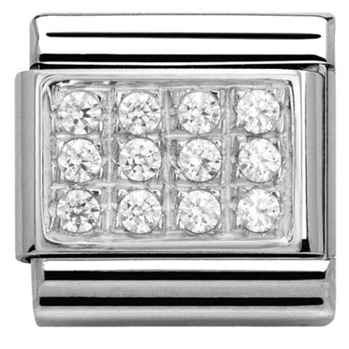 Nomination Charm Composable Classic Pave White Cubic Zirconia Steel