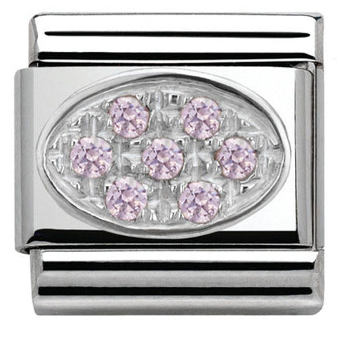 Nomination Charm Composable Classic Oval Pave Pink Cubic Zirconia Steel