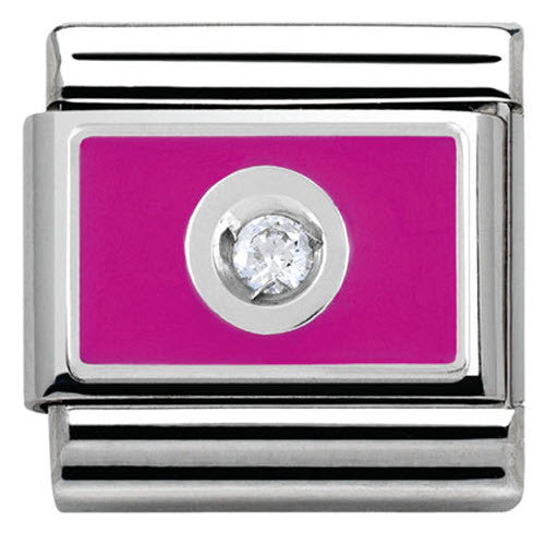 Nomination Charm Composable Link with Colored Plate White on Pink Steel