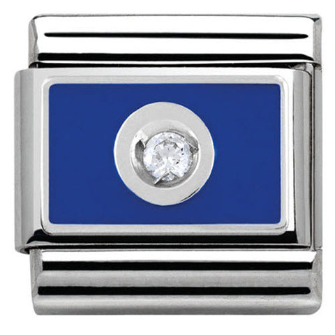 Nomination Charm Composable Link with Colored Plate White on Blue Steel