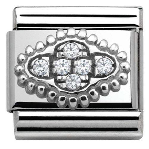 Nomination Charm Composable Link with Pave Flower White Steel
