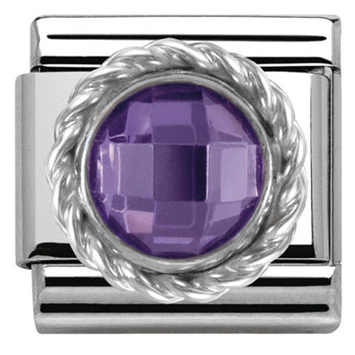 Nomination Charm Composable Classic Cubic Zirconia Round Faceted Stones Purple Steel