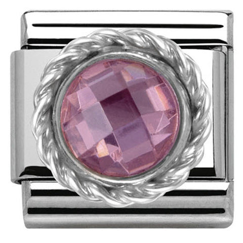 Nomination Charm Composable Classic Cubic Zirconia Round Faceted Stones Pink Steel