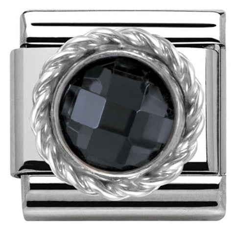 Nomination Charm Composable Classic Cubic Zirconia Round Faceted Stones Black Steel