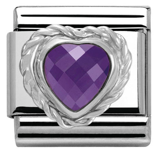 Nomination Charm Composable Link Heart Stone Purple Steel