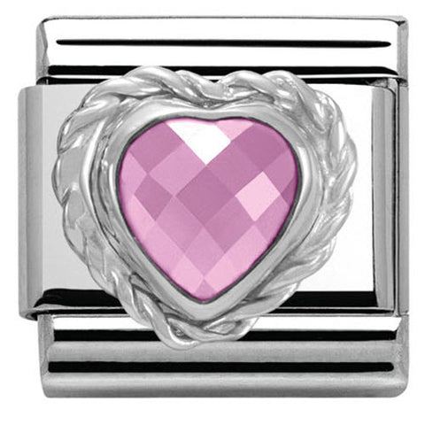 Nomination Charm Composable Link Heart Stone Pink Steel