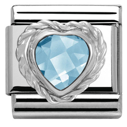 Nomination Charm Composable Link Heart Stone Light Blue Steel