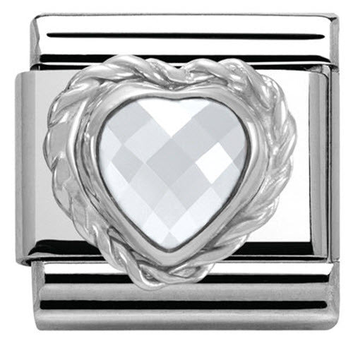 Nomination Charm Composable Link Heart Stone White Steel