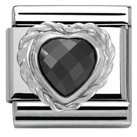 Nomination Charm Composable Link Heart Stone Black Steel