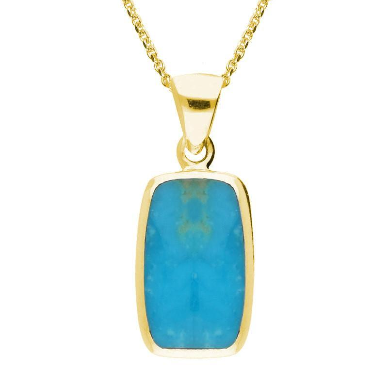 9ct Yellow Gold Turquoise Dinky Barrel Necklace