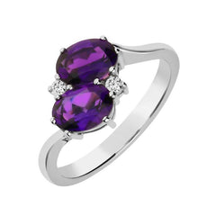 Platinum 0.44ct Amethyst Diamond Crossover Ring