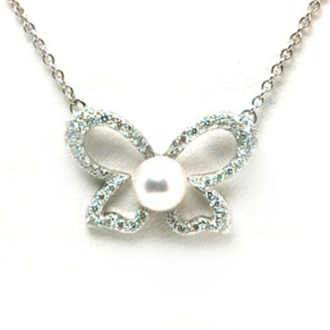 Mikimoto Necklace Butterfly Pearl Diamond And 18ct White Gold D
