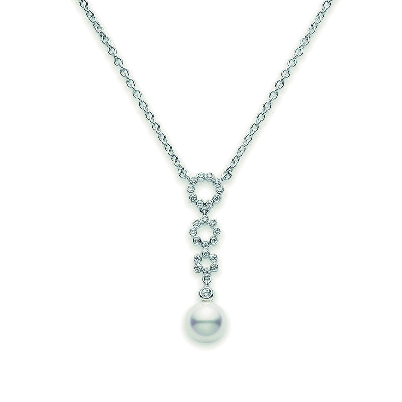 Mikimoto Necklace Lace Diamond and Pearl Necklace 18ct White Gold