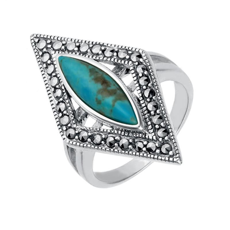 Silver Turquoise Marcasite Triangle Ring
