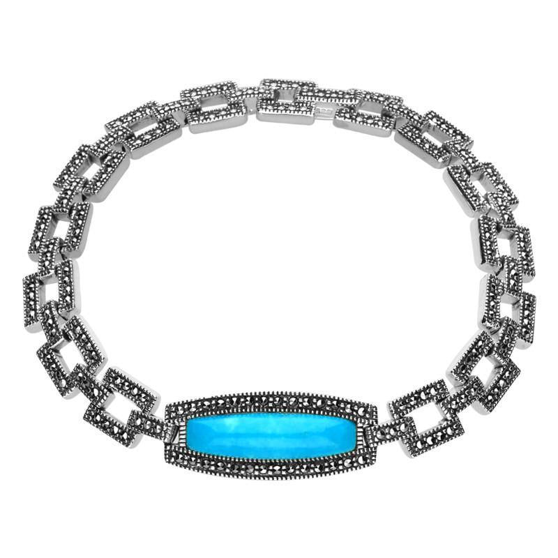 Silver Turquoise And Marcasite Oblong Curved Link Bracelet