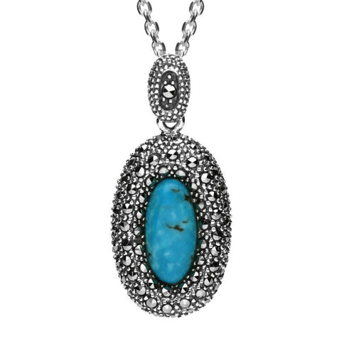 Silver Turquoise Marcasite Rounded Edge Oval Necklace