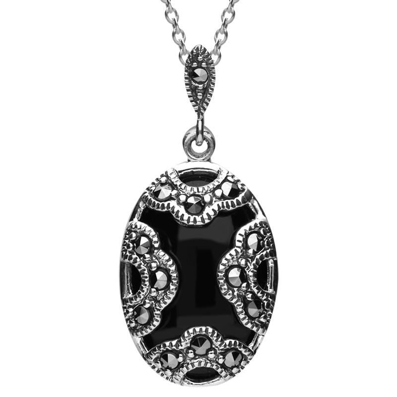 Silver Whitby Jet Marcasite Oval Art Deco Necklace