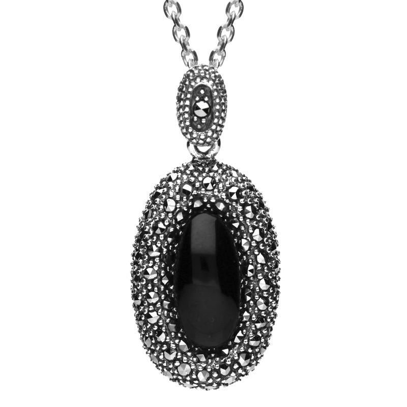 Sterling Silver Whitby Jet Marcasite Rounded Edge Oval Necklace