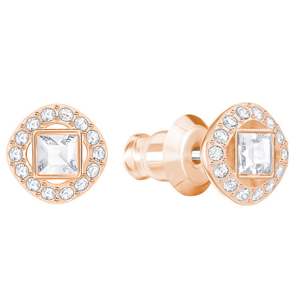 Swarovski Angelic Rose Gold White Crystal Square Stud Earrings
