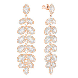 Swarovski Baron Rose Gold White Crystal Drop Earrings