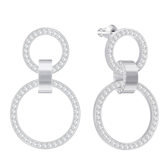 Swarovski Rhodium White Crystal Hollow Earrings