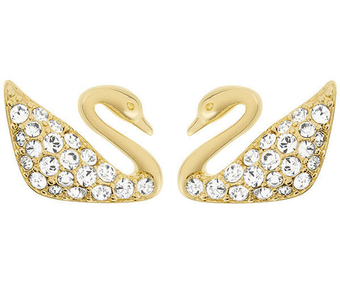 Swarovski Earrings Swan Mini Pierced Yellow Gold