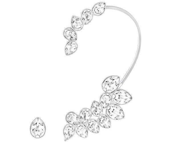 Swarovski Earring Droplet Ear Cuff Rhodium