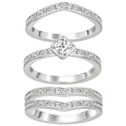 Swarovski Alfa Rhodium Plated Crystal Ring Set - Size 50, 5221375.