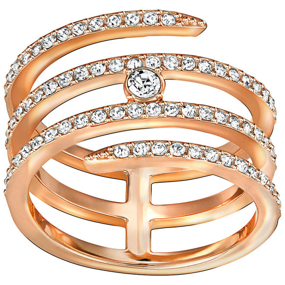 Swarovski Creativity Rose Gold Plated Crystal Spiral Ring - Size 58, 5221416.