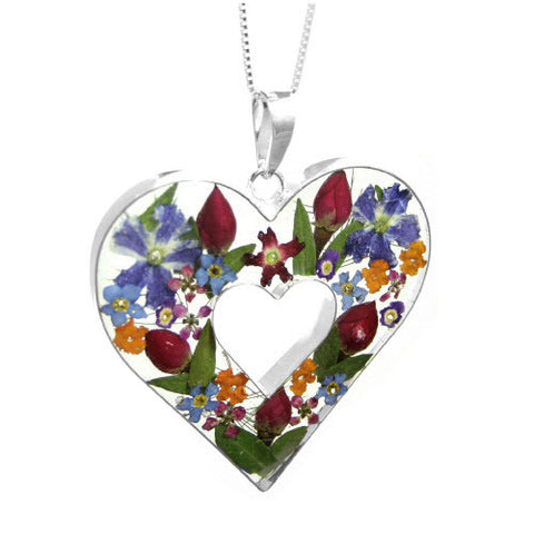 Shrieking Violet Pendant Mixed Flowers Double Heart Silver