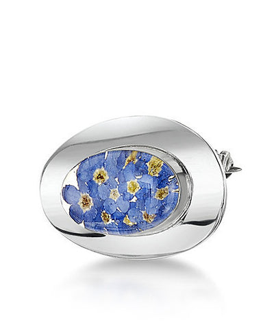 Shrieking Violet Brooch Forget Me Not Oval Silver