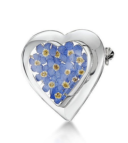 Shrieking Violet Brooch Forget Me Not Heart Large Silver