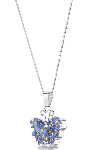 Shrieking Violet Necklace Forget Me Not Butterfly Medium Silver