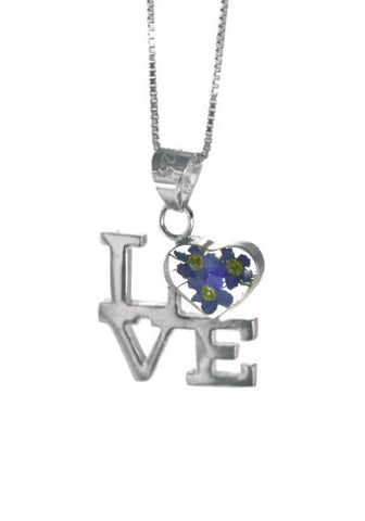 Shrieking Violet Necklace Forget Me Not Love Silver