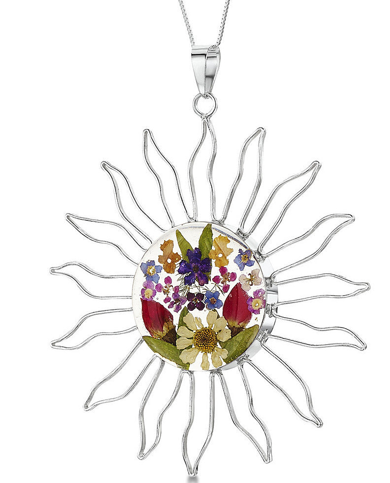 Shrieking Violet Necklace Mixed Flower Sun Large Silver