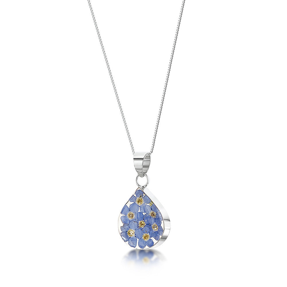 Shrieking Violet Necklace Forget Me Not Medium Teardrop Silver