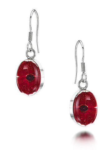 Shrieking Violet Earrings Poppy Drop Oval Silver S