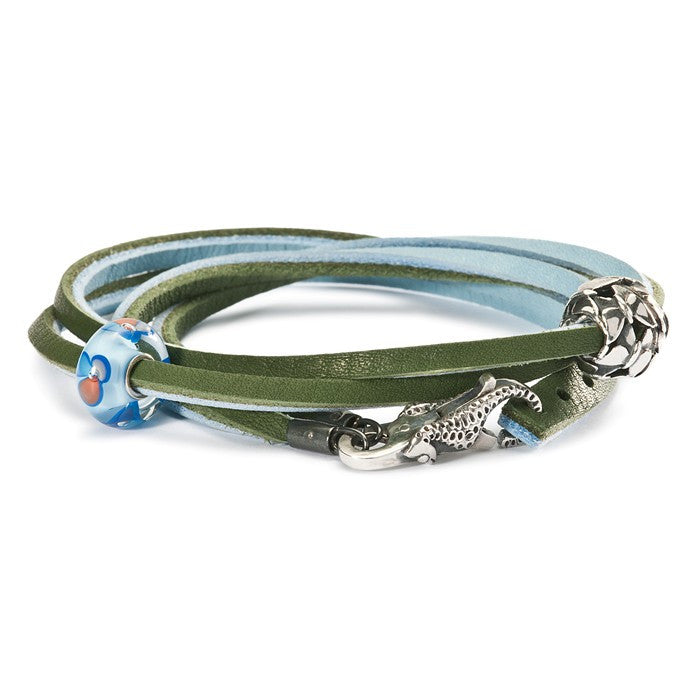 Trollbeads Bracelet Leather Light Blue/Green 36cm