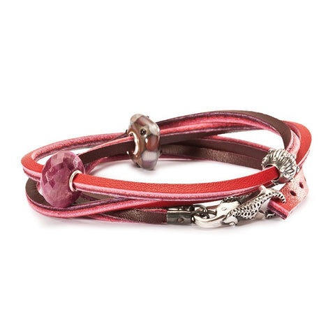 Trollbeads Bracelet Leather Red/Bordeaux 41cm