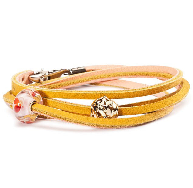 Trollbeads Bracelet Leather Yellow/Light Pink 36cm