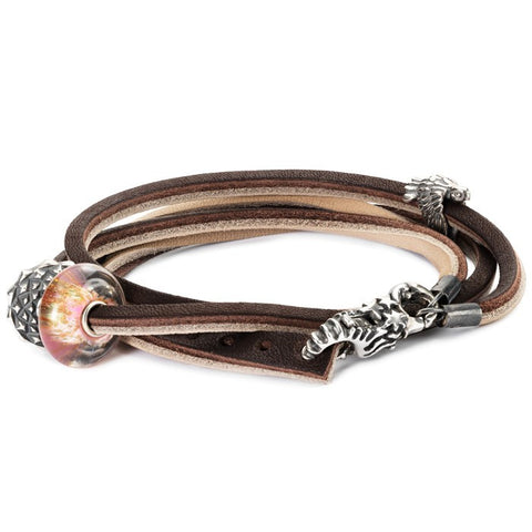 Trollbeads Bracelet Leather Brown/Light Grey 36cm