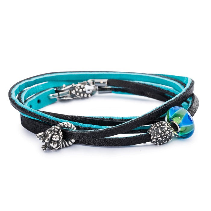 Trollbeads Bracelet Leather Turquoise/Navy 41cm